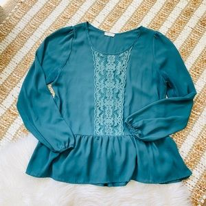 ModCloth teal lace peplum blouse